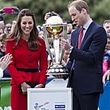 Will and Kate were all smiles when they checked out the Cricket World Cup in Christchurch, New Zealand, during the royal tour.