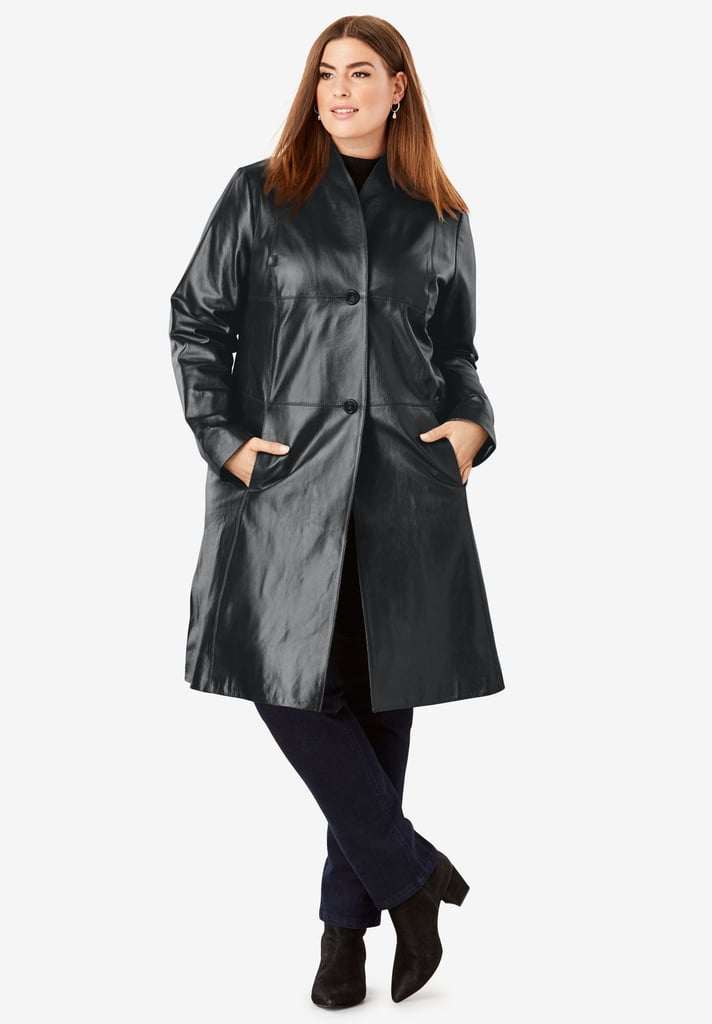 Jessica London Leather Swing Coat