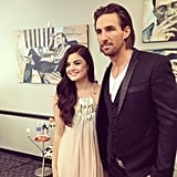 Lucy Hale posed alongside her fellow presenter Jake Owen. Source: Instagram user lucyhale