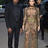 Kim Kardashian and Kanye West at the Vogue 100 Gala in London in 2016