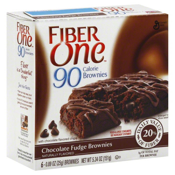 Chocolate Fudge Brownies Fiber one 90 Calorie Brownies. Fiber One Brownie Chocolate Fudge, 12 Count. by Fiber One. $ $ 31 66 ($/oz) Exclusively for Prime Members. Save 20% with coupon. Product Features FIBER SNACKS: Contains 20% Daily Value of Fiber; Diets high in fiber can.