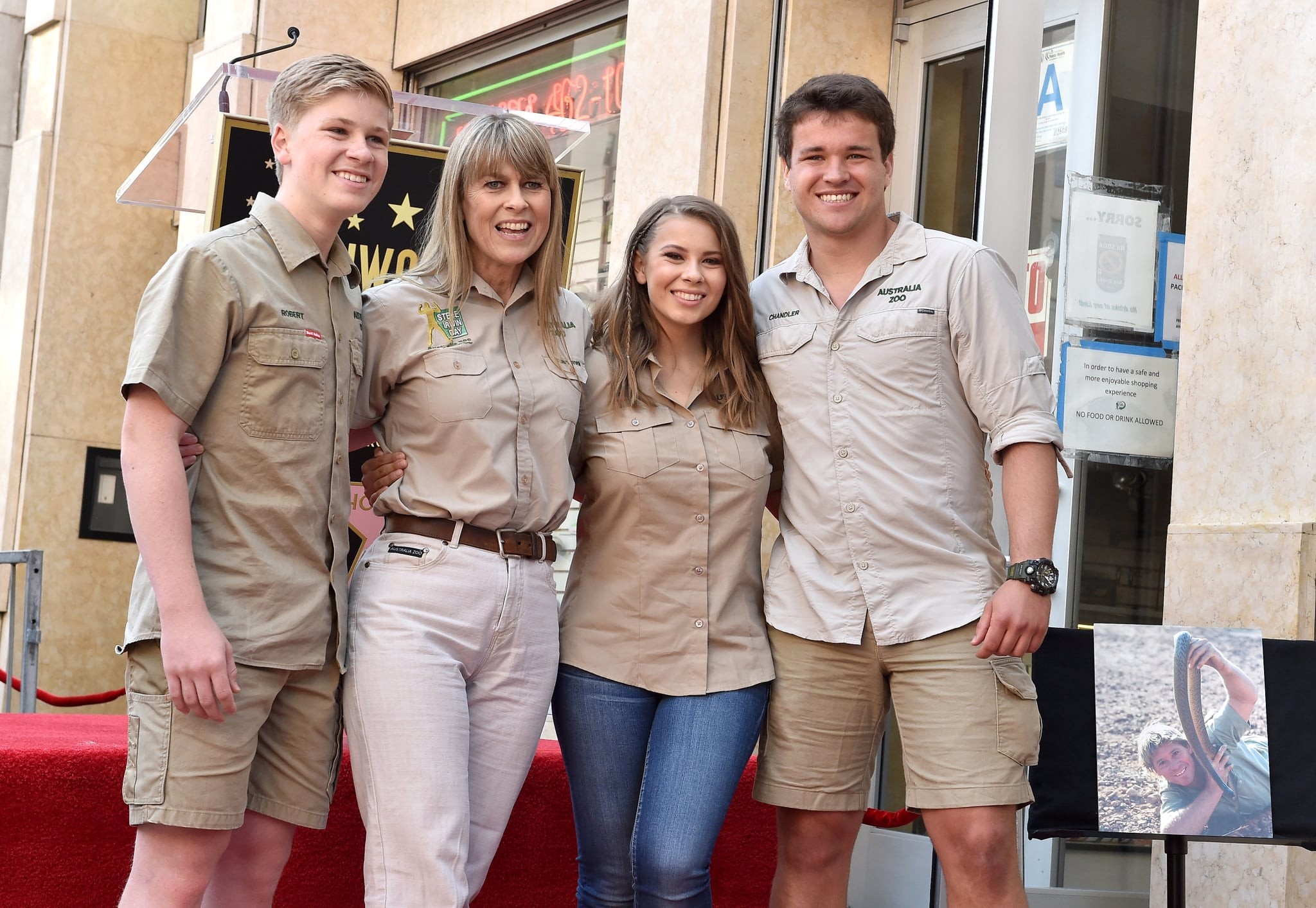 HOLLYWOOD, CA - APRIL 26:  (L-R) Robert Irwin, Terri Irwin, Bindi Irwin and Chandler Powell attend the ceremony honoring Steve Irwin with star on the Hollywood Walk of Fame on April 26, 2018 in Hollywood, California.  (Photo by Axelle/Bauer-Griffin/FilmMagic)