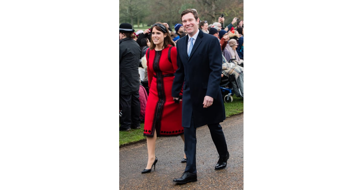 ceb2ecf46e69 Princess Eugenie Red Dress on Christmas Day 2018 | POPSUGAR Fashion Photo 3