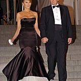 Melania's mermaid-style gown for the 2005 Met Gala, which honored Chanel, fit the bill. Her black and white tulle-finished dress was by Alexander McQueen, but she accessorized with a Chanel brooch and purse at the event.