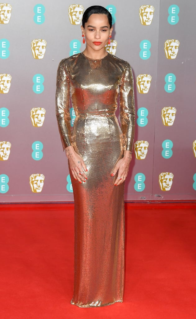 Zoë Kravitz's Gold Saint Laurent Dress at the BAFTAs 2020