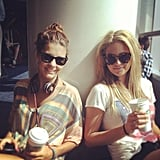 Lauren Phillips and Jesinta Campbell killed time at the airport. Source: Instagram user jesintac