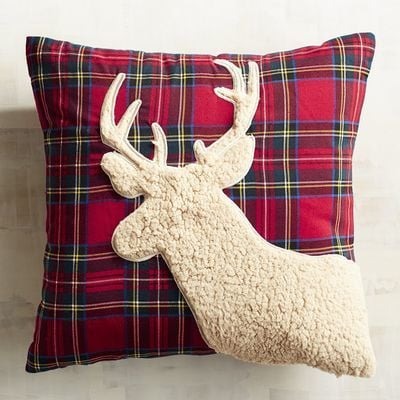 Sherpa Reindeer Tartan Plaid Pillow ($30)