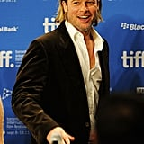 Brad Pitt was excited to talk about Moneyball with reporters.