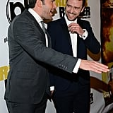 After posing for pictures with his wife, Jessica Biel, Justin Timberlake joked around with his Runner Runner costar Ben Affleck at the film's Las Vegas premiere on Sept. 18.