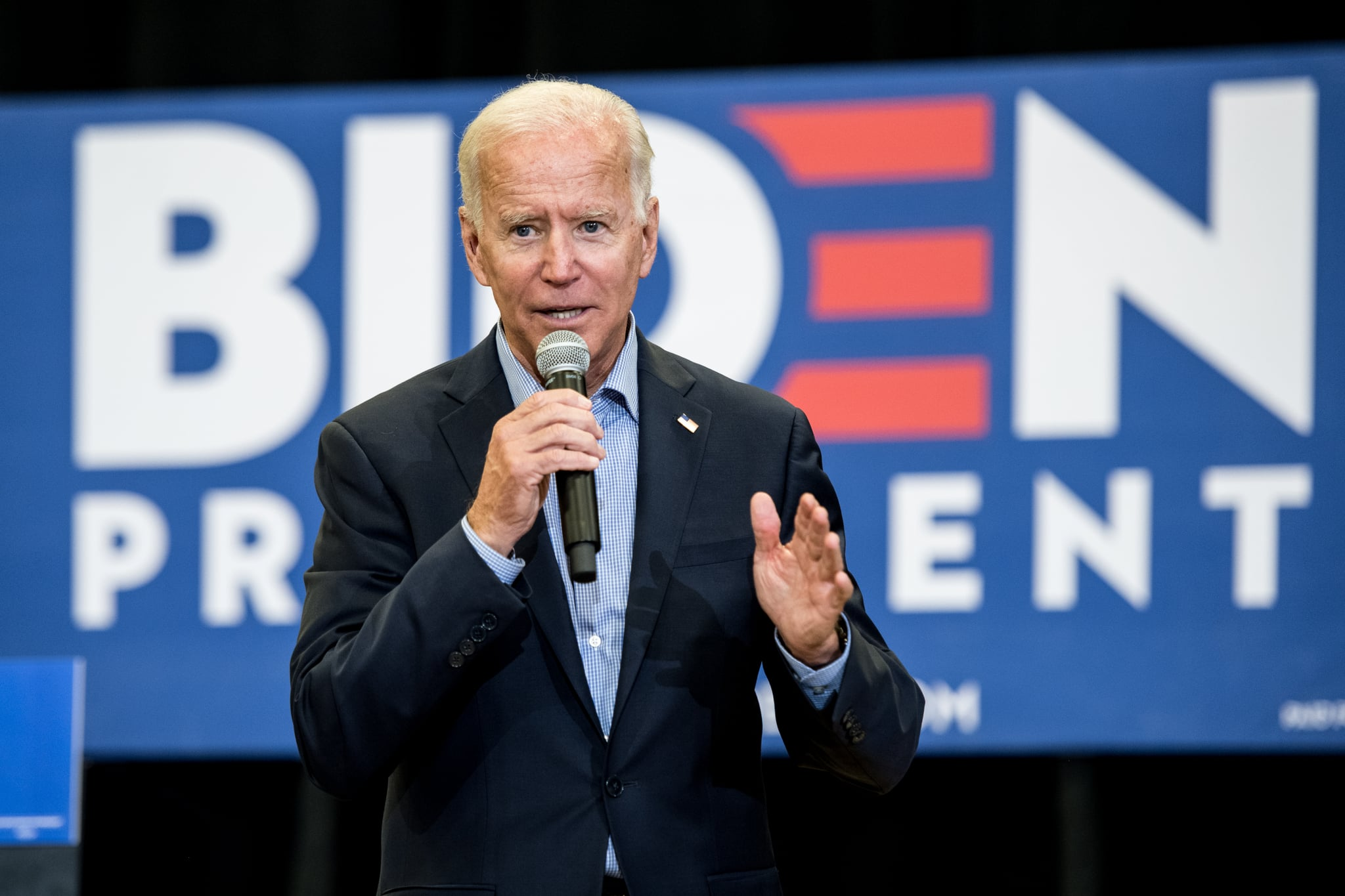 ROCK HILL, SC - AUGUST 29: Democratic presidential candidate and former US Vice President Joe Biden addresses a crowd at a town hall event at Clinton College on August 29, 2019 in Rock Hill, South Carolina. Biden spent Wednesday and Thursday campaigning in the early primary state. (Photo by Sean Rayford/Getty Images)