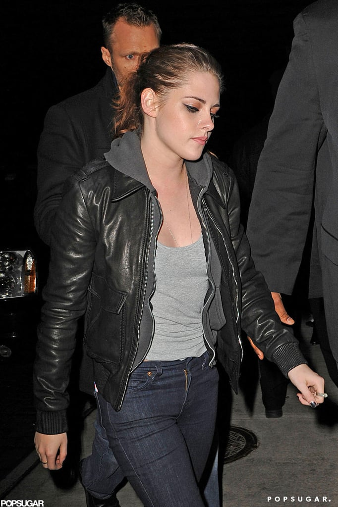 Kristen Stewart wore a leather jacket to dinner.