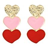 Rave Envy Triple Heart Earrings