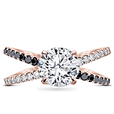Black and White Diamond Criss Cross Setting in 18K Rose Gold