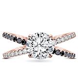 Black and White Diamond Criss Cross Setting in 18K Rose Gold