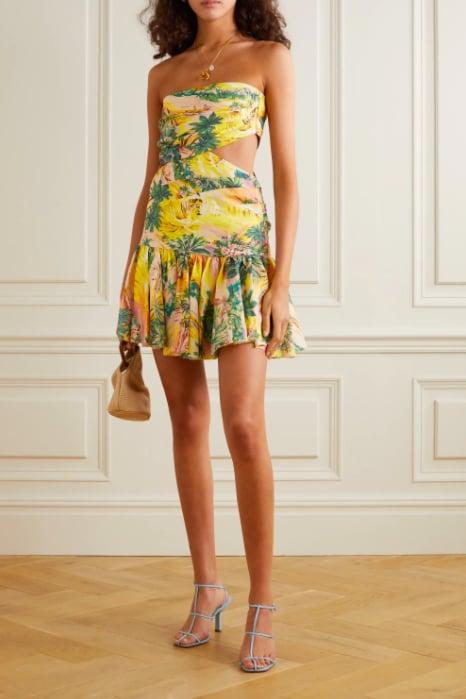 Zimmermann Juliette Cutout Pleated Printed Linen Mini Dress ($590)