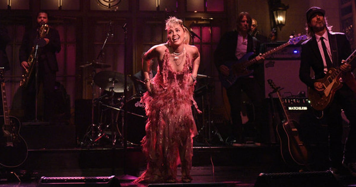 Miley Cyrus Should Be Crowned '80s Prom Queen For Her Sheer, Feathered SNL Dress