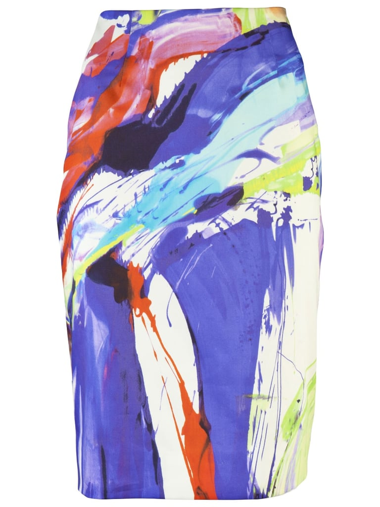 One-part ladylike, one-part whimsical art project explosion — Summer wouldn't be complete without a skirt of this vibrancy caliber. Don with metallic strappy sandals and an equally bright top for maximum effect. Lela Rose Printed Cotton Skirt ($595)