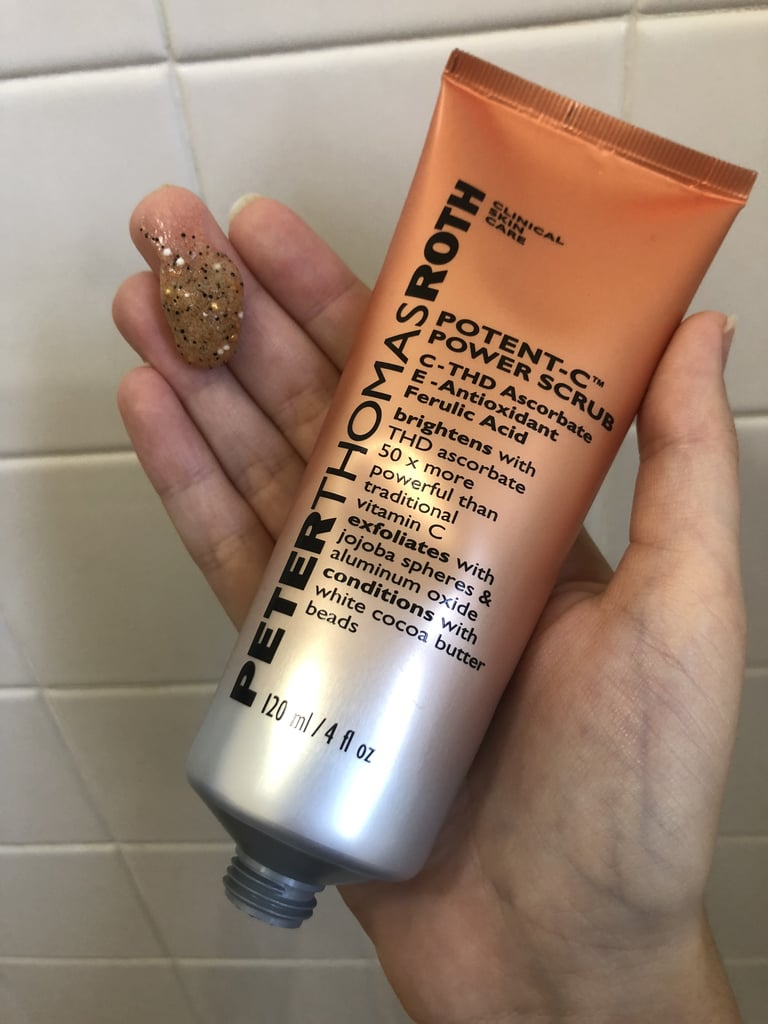 Considering I just finished my scrub, down to the very last drop, it was the perfect opportunity to test the new Peter Thomas Roth Potent-C Power Scrub ($38) in my weekly nighttime regimen. It's formulated with the perfect combination of ingredients: vitamin C and ferulic acid to brighten and resurface, plus white cocoa butter to condition.  The gel-like scrub is packed with orange vitamin C beads that burst on contact with the skin, as well as black jojoba spheres and white aluminum oxide beads to physically buff away dead skin cells and provide multidimensional exfoliation. It's important to note that these are nonplastic exfoliants, making them safe for the environment, which is an absolute must.