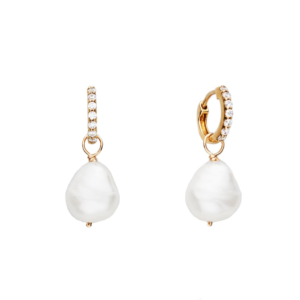 Lily & Roo Gold Huggie Pearl Drop Earrings