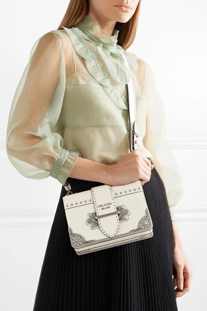 2c3340777945 Prada Cahier Embellished Leather Shoulder Bag