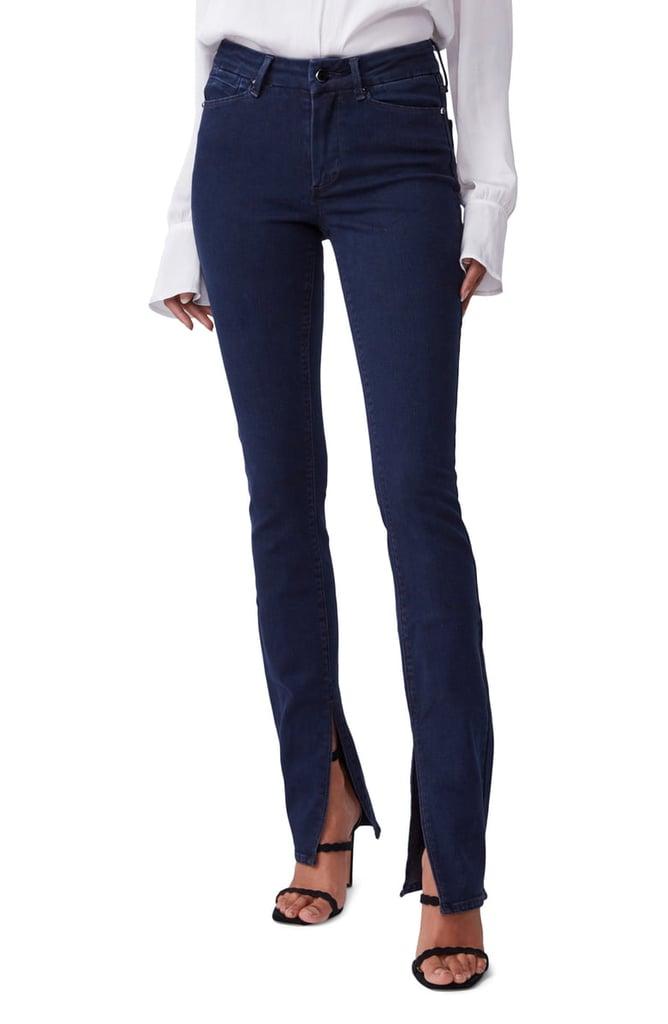 Paige Constance High Waist Long Split Hem Slim Jeans