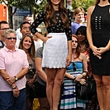 Nina showed off her stems in this pretty Dolce & Gabbana set for an appearance on Extra in September.