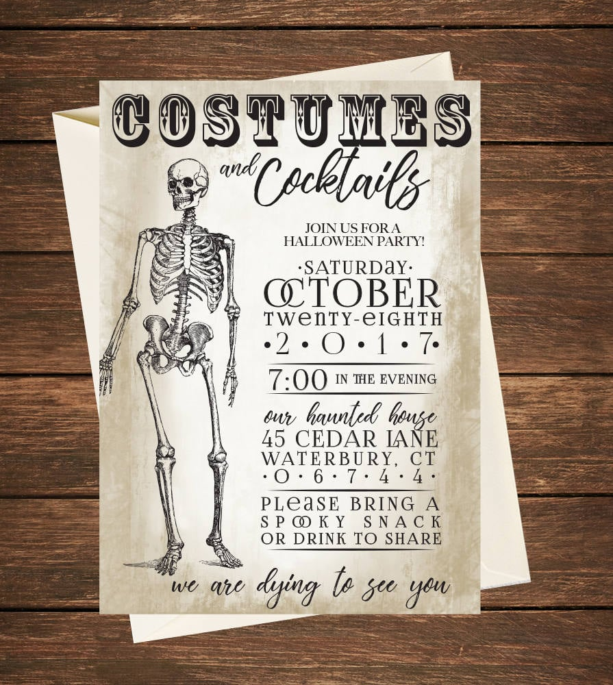 photo relating to Printable Halloween Party Invitations titled Costumes and Cocktails ($15+) Printable Halloween Celebration