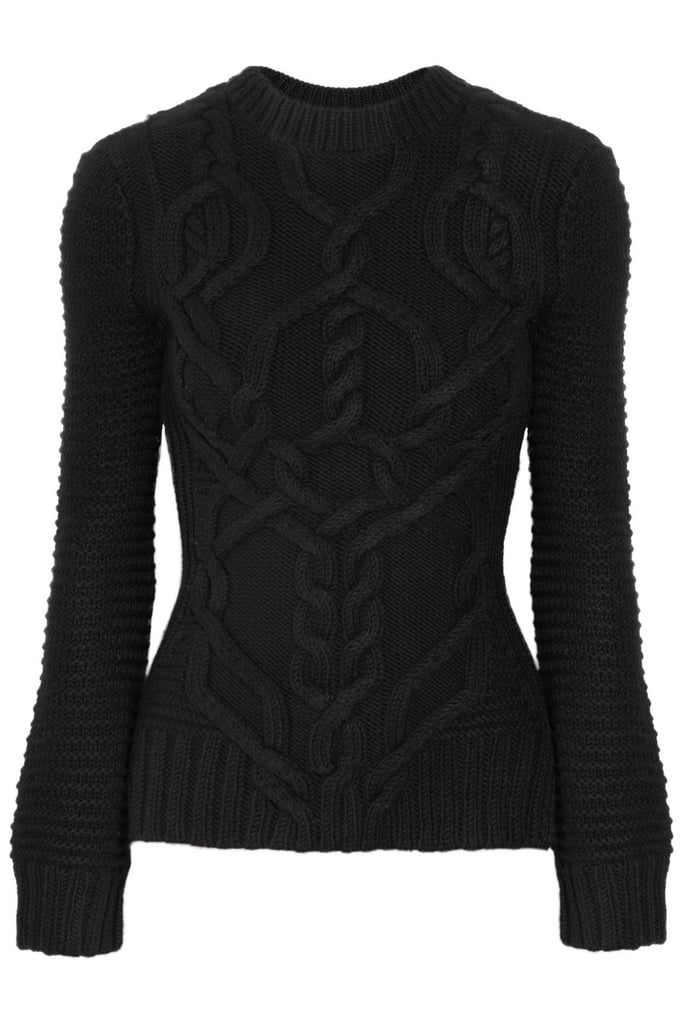 Derek Lam's Cable Knit Wool Sweater ($1,250) has a ribbed, figure-flattering fit and unique, eye-catching twists.