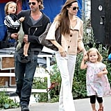 Knox and Vivienne Jolie-Pitt Join the Big Kids and Brad and Angelina For a Puppet Show