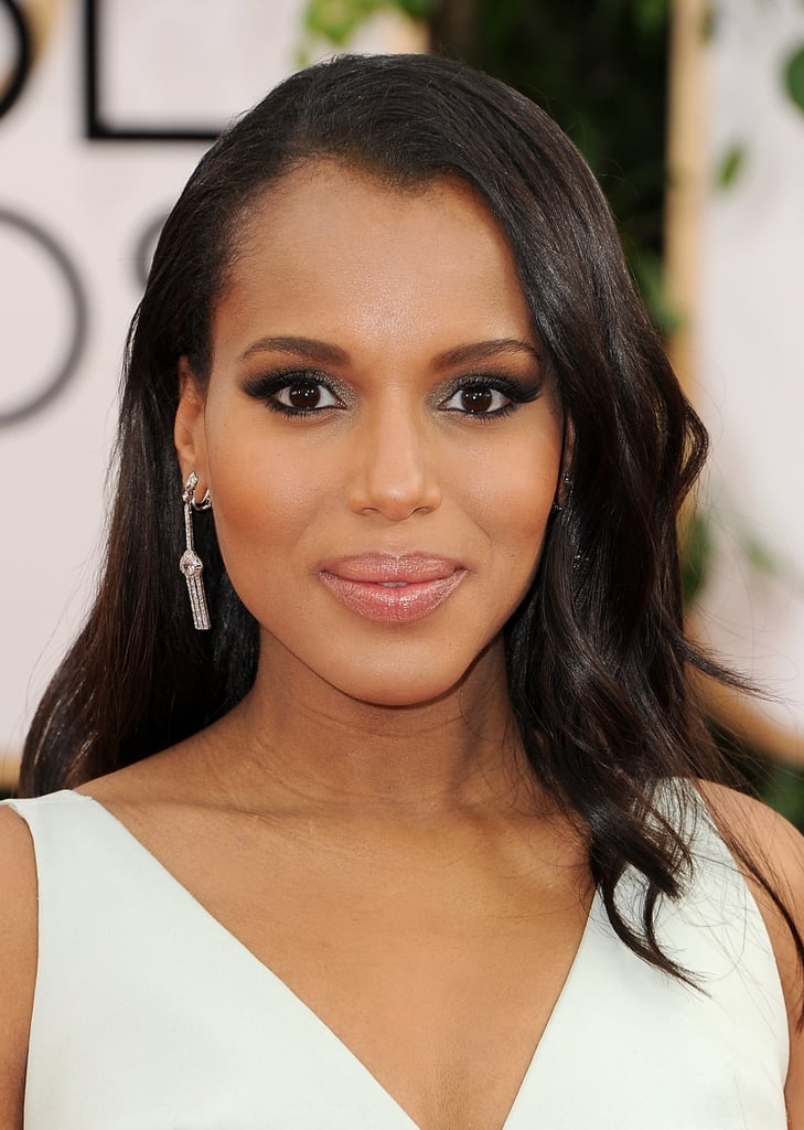 Mom-to-be Kerry Washington coordinated her metallic makeup with her ethereal Balenciaga creation.