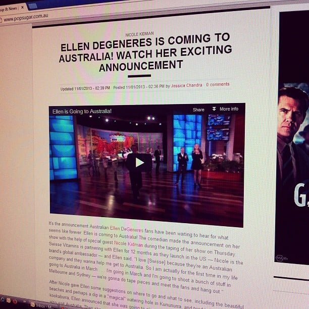 This was big news last Friday — Ellen's coming to Australia! Anyone else excited?