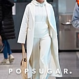 Priyanka Chopra Wearing White Cashmere Sweats at the Airport