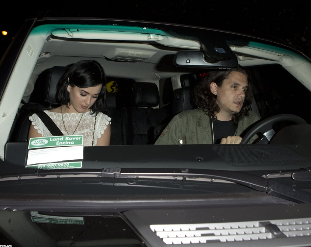 "Katy Perry and John Mayer shared a ride home from LA's Chateau Marmont last night. Recent rumors have suggested that Katy and John are dating, and whether or not they're actually romantic, it's clear the two are pals. John and Katy met up after her recent trip to Brazil to promote her movie, Part of Me. Katy also chatted about the movie in Elle's September issue. She gave some tips to future suitors, too, which could be helpful for John. Katy spoke about dating and someday marrying again, commenting, ""I'm a woman who likes to be courted — strongly. Never say never, I guess you'd say. I'll let love take the lead on that."""