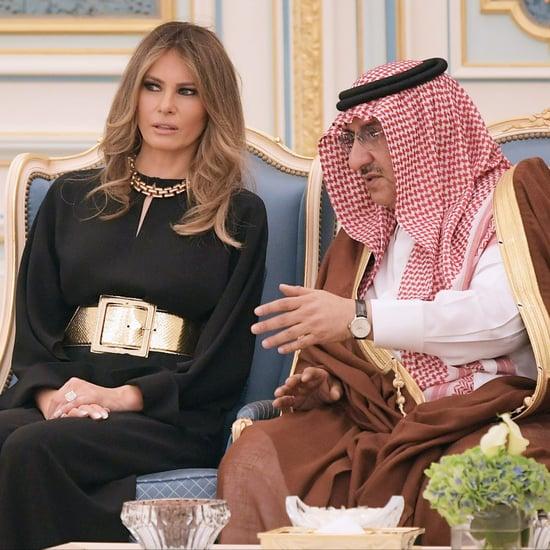 ميلانيا ترامب ترتدي بذلة من قطعة واحدة سوداء في المملكة العر