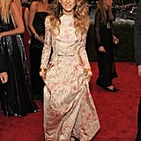 Sarah Jessica Parker walked the carpet in a floral Valentino.