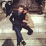 Lea Michele cuddled with Chris Colfer. Source: Instagram user msleamichele