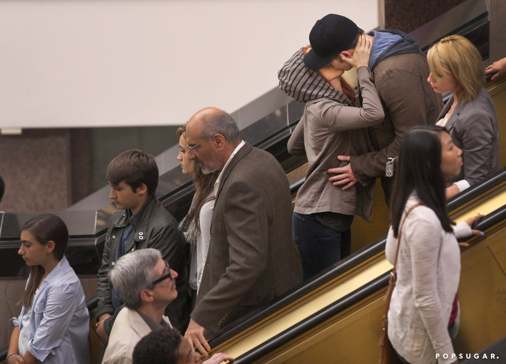 Scarlett Johansson and Chris Evans kissed on an escalator for a scene from Captain America: The Winter Soldier.