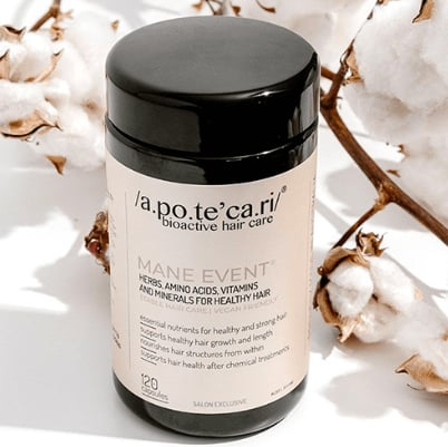 Apotecari Mane Event - 60 Capsules ($55)  Apotecari's vegan hair supplement ticks a lot of boxes. It contains ingredients like amino acids, activated B vitamins and silica for optimum hair growth, length and conditioning.