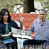 The president and first lady gave their best monster faces while reading Where The Wild Things Are at the White House's Easter Egg Roll in March.