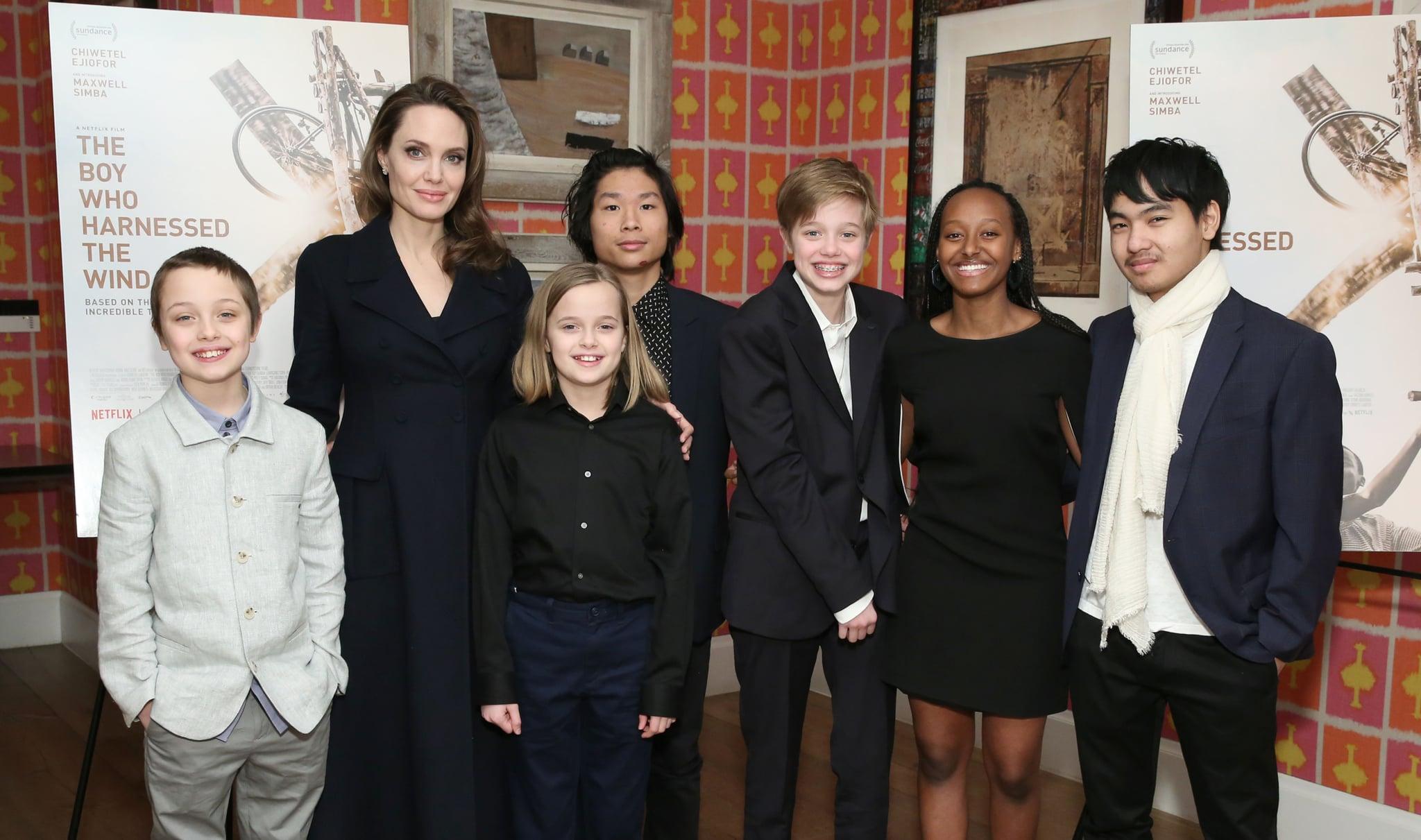 NEW YORK, NEW YORK - FEBRUARY 25: Angelina Jolie with children Knox Leon Jolie-Pitt, Vivienne Marcheline Jolie-Pitt, Pax Thien Jolie-Pitt, Shiloh Nouvel Jolie-Pitt, Zahara Marley Jolie-Pitt and Maddox Chivan Jolie-Pitt attend