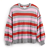 Heather Gray Stripe Balloon-Sleeve Sweater