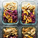 Shredded honey chicken with cabbage and veggies.