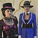 Pretty Little Liars Aria goes goth, while Emily is a sexy gangster. Source: ABC Family
