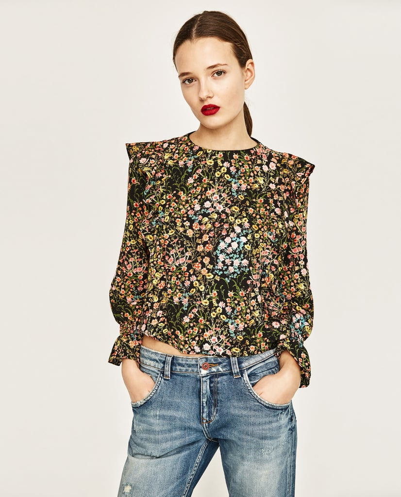 Zara Printed Blouse With Frills ($40)
