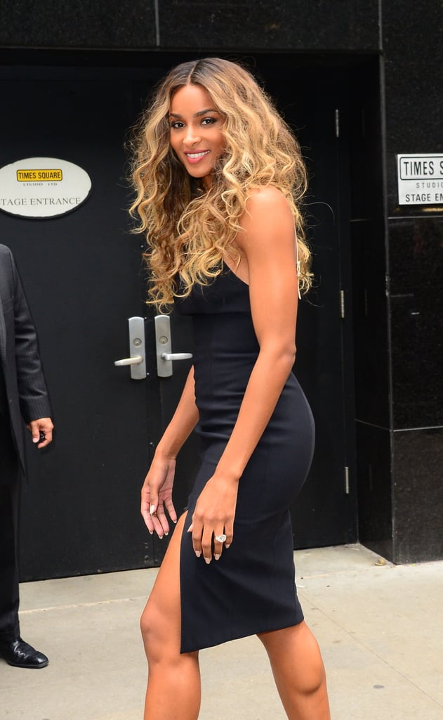 Ciara stepped out in NYC on Monday to help announce the nominees of this year's Billboard Music Awards, which she and rapper Ludacris are hosting together on May 22. The singer, who recently got engaged to Seattle Seahawks player Russell Wilson, showed off her figure in a curve-hugging black dress by Kookai, which she accessorized with her blindingly beautiful 16-carat diamond ring. When meeting up with Ludacris to reveal the Billboard nominees on Good Morning America, she covered up in a nude pantsuit and cape, but yes, that stunning bauble was still front and center. Keep reading to see Ciara's latest outing in the city, then check out her cutest photos with son Future Zahir.