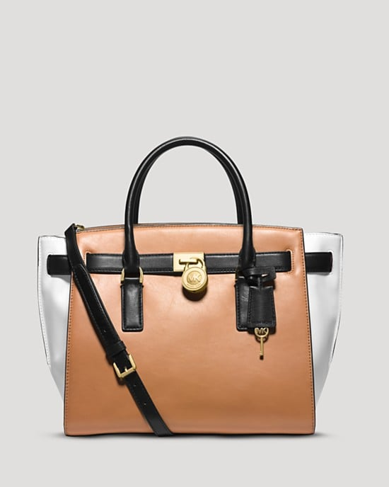 MICHAEL Michael Kors Hamilton Traveler Large Color-Block Leather Satchel ($398)