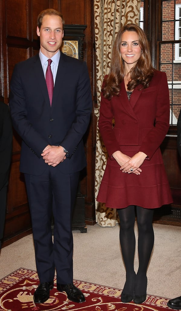 Kate Middleton wore an oxblood Paule Ka suit to join her husband, Prince William, in London today. The royals met with law students at Middle Temple, which is actually the site where Stanley Tucci wed Felicity Blunt just over a week ago. William and Kate shook hands with scholars who received special honors, including the Queen Mother Scholarship and the Diana, Princess of Wales Scholarship. William and Kate also handed out the first-ever Duke and Duchess of Cambridge Scholarship. Kate and William are back home in the UK after wrapping up their Asia Pacific tour about three weeks ago. Being in England has allowed Kate to spend time with her family —Kate and her parents attended a friend's wedding in Oxfordshire on Oct. 1.