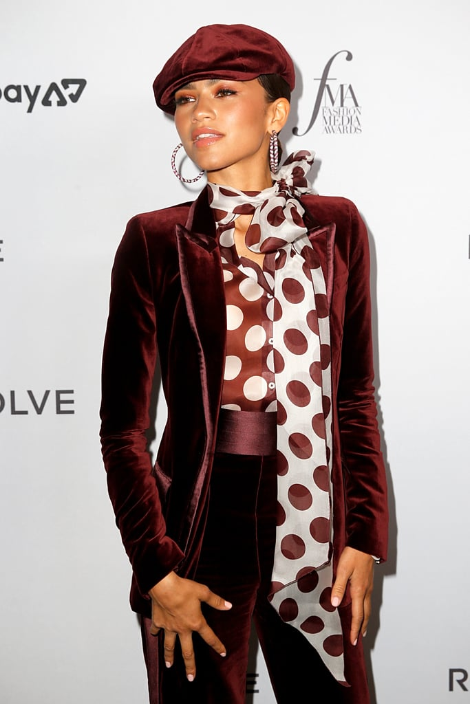 Zendaya S Red Velvet Suit At The Fashion Media Awards 2019 Popsugar Fashion Uk Photo 3
