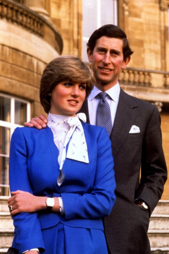 Prince Charles and Princess Diana stood for engagement portraits. Notice the sapphire ring Kate wears today.  Source: Photo courtesy of The British Monarchy