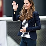 Kate Middleton gave a royal wave while visiting a Sportaid Athlete Workshop in London.
